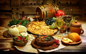 Picture greens, table, wine, cheese, glasses, grapes, pepper, vegetables, garnet, meals, cuts, barrel, khachapuri