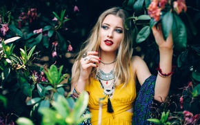Picture look, leaves, girl, decoration, branches, makeup, scarf, dress, blonde