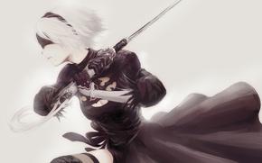 Picture girl, sword, white, game, black, android, dress, art, katana, square enix, nier, bandage, ps4, tape, ...