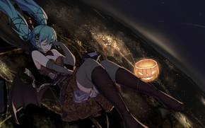 Picture girl, stars, night, the city, lights, hat, anime, art, pumpkin, witch, vocaloid, hatsune miku, halloween, …