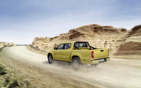 Picture the sky, mountains, yellow, movement, vegetation, Mercedes-Benz, pickup, primer, 2017, X-Class