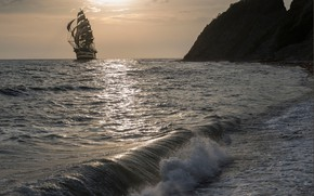 Picture sea, sunset, rocks, ship, sailboat