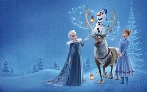 Wallpaper winter, forest, snow, trees, cartoon, the evening, deer, lights, snowman, Anna, Walt Disney, Elsa, Olaf, ...