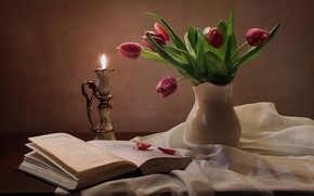 Picture candle, tulips, book, still life