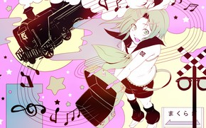 Picture girl, notes, train, Vocaloid, Vocaloid, Kagamine Rin