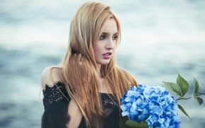 Picture flower, girl, mood, hydrangea, Carolina Camacho