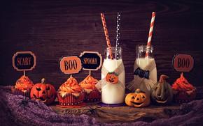 Wallpaper milk, Halloween, pumpkin, Halloween, holidays, cakes, sweet, cupcake, cupcakes, milk, pumpkin