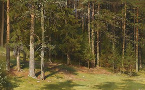 Picture forest, trees, landscape, nature, picture, Ivan Ivanovich Shishkin, Cleaning