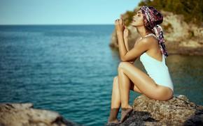 Picture sea, swimsuit, pose, Mark Tiu, Rhiana Long