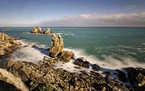 Picture sea, stones, rocks, coast, Spain, Spain, Cantabria, Pielagos