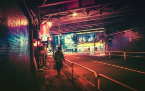 Picture Road, Night, The city, People, Light, Tokyo, Lights, Tokyo, Masashi Wakasa