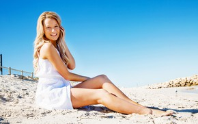 Picture sand, girl, the sun, smile, makeup, dress, hairstyle, legs, sitting, in white
