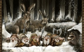Picture dwarves, raccoon, rabbits, The Comeback Home