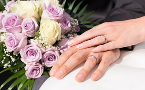 Picture love, roses, bouquet, ring, hands, wedding, hands, bouquet, wedding