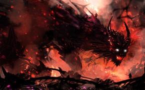 Picture fire, people, monster, the demon, warrior, art, hero, horns, spear, beast, DeviantArt, TacoSauceNinja