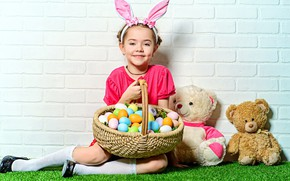 Picture eggs, Easter, girl, basket