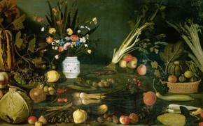 Picture picture, Michelangelo Merisi da Caravaggio, Still life with Flowers Vegetables and Fruits
