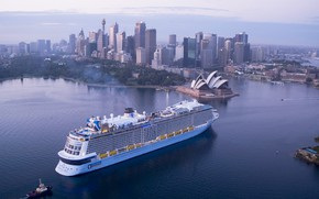 Picture The city, Liner, Sydney, The ship, Passenger, Passenger liner, Tug, Ovation of the Seas