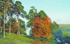Picture trees, lake, glade, oil, Canvas, The beginning of autumn, Andrey GERASIMOV