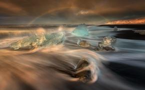 Picture sea, wave, beach, light, ice, rainbow, excerpt, Iceland