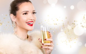 Picture decoration, smile, glare, background, mood, glass, makeup, hairstyle, fur, brown hair, beauty, champagne, bokeh, manicure