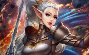 Picture chest, girl, hair, elf, beauty, sword, warrior, ears, antalya