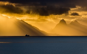 Wallpaper ship, light, Norway, sea, Grytting, Norway, horizon, Nordland, clouds