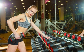 Picture girl, blonde, female, workout, gym