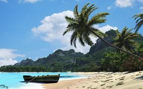 Picture sea, mountains, shore, boat, tropicana beach