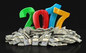 Wallpaper the dark background, background, holiday, graphics, new year, mountain, money, figures, symbol, dollars, wish, colorful, ...