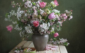 Picture cherry, spring, tulips, vase, hellebore