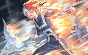 Picture fire, flame, ice, anime, hero, manga, powerful, strong, uniform, yuusha, spark, seifuku, Shouto Todoroki, My …