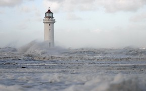 Picture sea, wave, squirt, storm, lighthouse, England