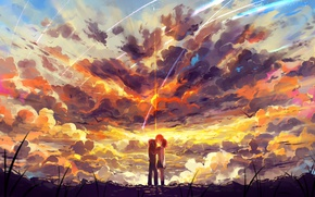 Picture the sky, girl, clouds, sunset, birds, kiss, anime, art, form, guy, two, students, haraguroi you, …