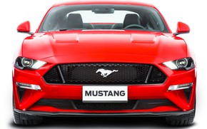 Picture red, Ford, front view, Fastback, 2018, Mustang GT