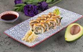 Wallpaper sauce, Avocado, Sushi, flowers