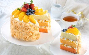 Wallpaper tea, strawberry, cake, layers, peach, cream, blueberries