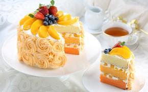 Picture tea, strawberry, cake, layers, peach, cream, blueberries