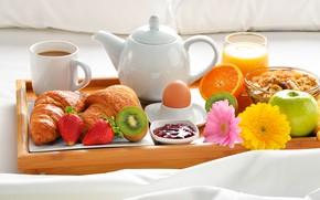 Wallpaper fruit, croissants, juice, coffee, Breakfast in bed, jam, cereal