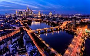 Picture lights, river, building, Germany, panorama, bridges, night city, Germany, Frankfurt am main, Frankfurt am Main, …