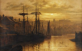 Wallpaper The evening, Ships, Louis Hubbard Grimshaw, The city