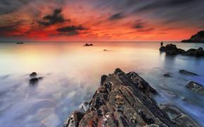 Picture sea, sunset, coast, the evening