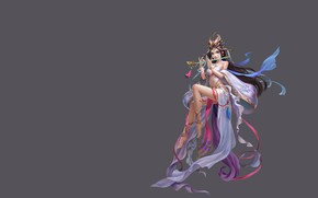 Picture girl, music, magic, the game, art, fantasy, flute