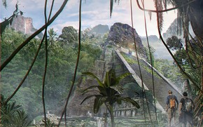 Picture forest, mountains, pyramid, travelers, Jungle temple