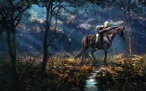Picture forest, horse, rider, Art, Andrii Shafetov