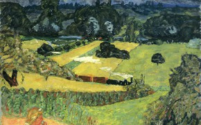 Picture field, trees, girl, Nabi intimism, Pierre - Train and bardes., Bonnard