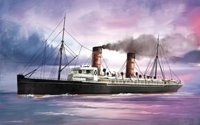 Picture wave, ship, Transatlantic Ships, lucania