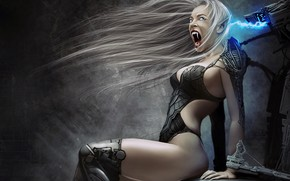 Picture girl, fantasy, robot, Vampire, digital art, artwork, fantasy art, cyborg, teeth, fantasy girl