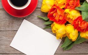 Wallpaper flowers, coffee, bouquet, romantic, tulips, tolani