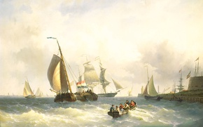 Picture ship, picture, sail, seascape, Willem Gruyter Jr., In the Roadstead of Bremerhaven